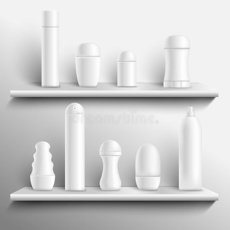 Leere desodorierende Mittel auf den Regalen realistisch vektor abbildung