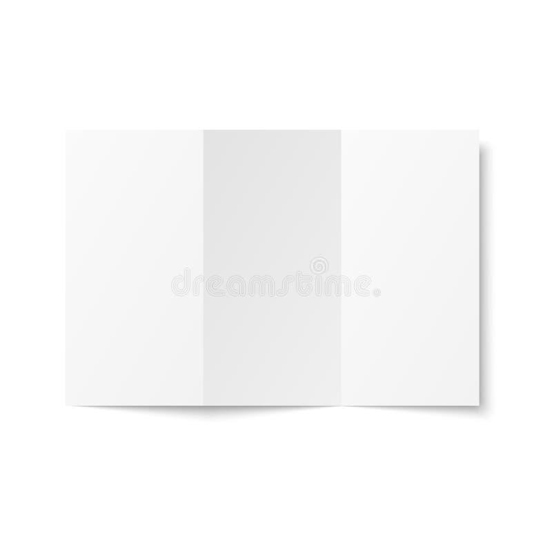 Leere dreifachgefaltete Broschüre auf Draufsicht des weißen Hintergrundes lizenzfreie abbildung
