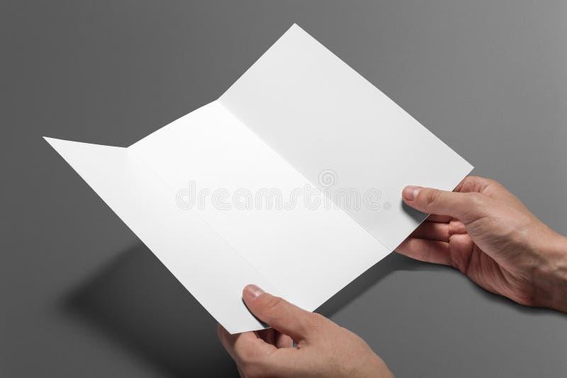 Leere dreifachgefaltete Broschüre lokalisiert auf Grau lizenzfreie stockfotos