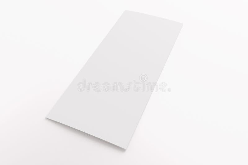 Leere dreifachgefaltete Broschüre lokalisiert auf Weiß lizenzfreie stockbilder