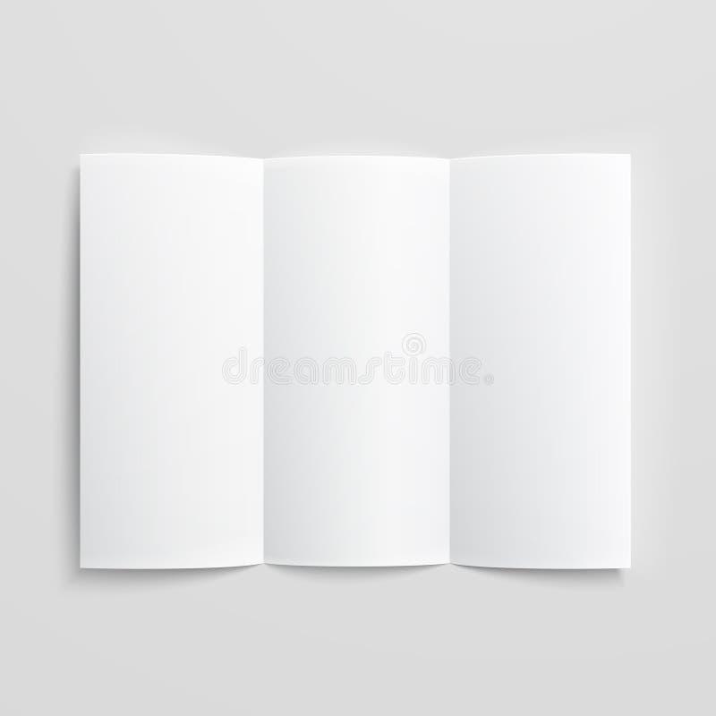 Leere dreifachgefaltete Papierbroschüre. lizenzfreie abbildung
