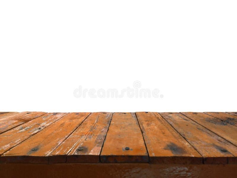 Leere dunkle hölzerne Spitzentabelle vor abstraktem weißem Hintergrund für Anzeige oder Montage benutzt werden können Ihre Produk stockbild