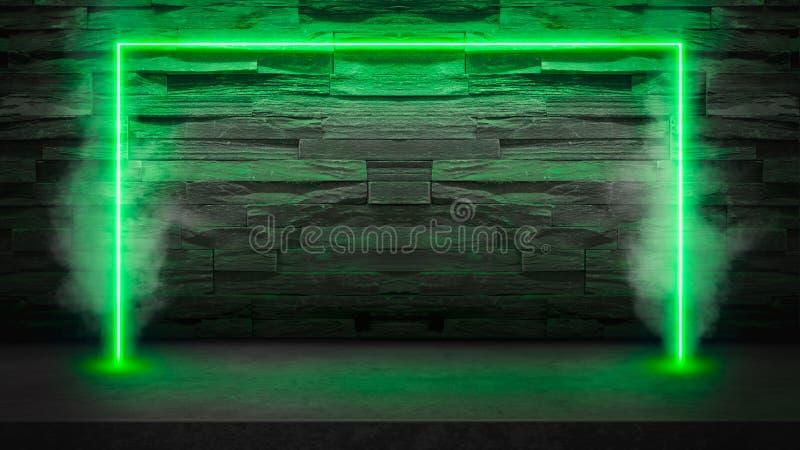 Leere dunkle Steintabelle mit grünen Leuchtstoff Neonlaserlichten im Rauche stockfoto