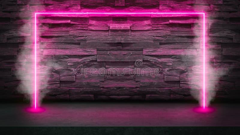 Leere dunkle Steintabelle mit Rosaleuchtstoff Neonlaserlichten im Rauche stockfotos
