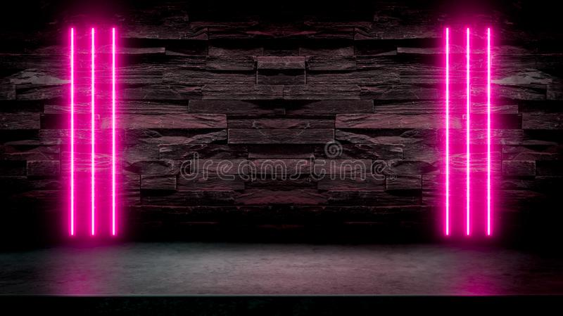 Leere dunkle Steintabelle mit Rosaleuchtstoff Neonlichtern lizenzfreie abbildung