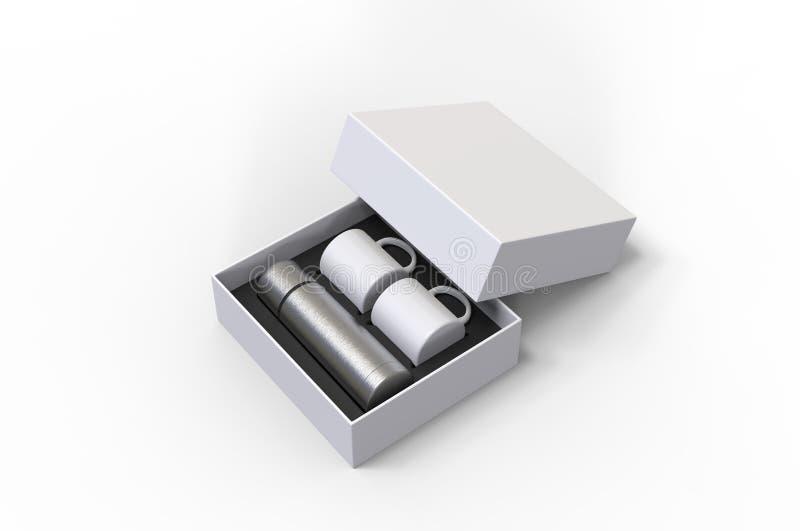 Leere Edelstahlflasche mit zwei Kaffeetasse in einem Kasten für das Einbrennen 3d ?bertragen Abbildung vektor abbildung