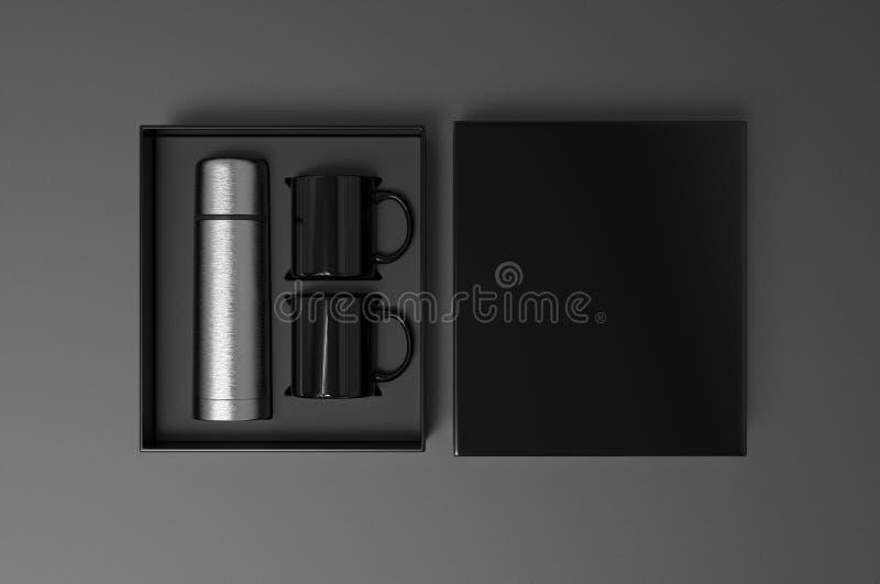 Leere Edelstahlflasche mit zwei Kaffeetasse in einem Kasten für das Einbrennen 3d ?bertragen Abbildung lizenzfreie abbildung
