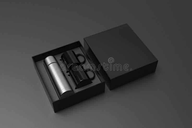 Leere Edelstahlflasche mit zwei Kaffeetasse in einem Kasten für das Einbrennen 3d ?bertragen Abbildung stock abbildung
