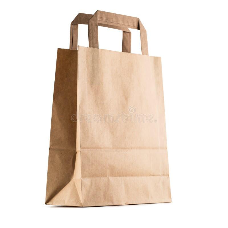 Leere Einkaufshandtasche der Nahaufnahme mit bereiten das Papier auf, das an lokalisiert wird stockfoto