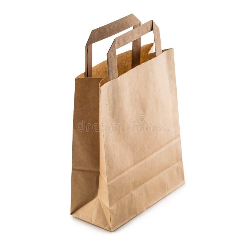 Leere Einkaufshandtasche der Nahaufnahme mit bereiten das Papier auf, das an lokalisiert wird stockbilder