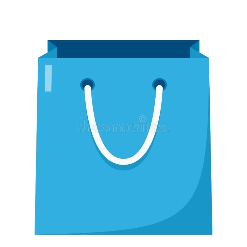 Leere Einkaufstasche-flache Ikone auf Weiß lizenzfreie abbildung