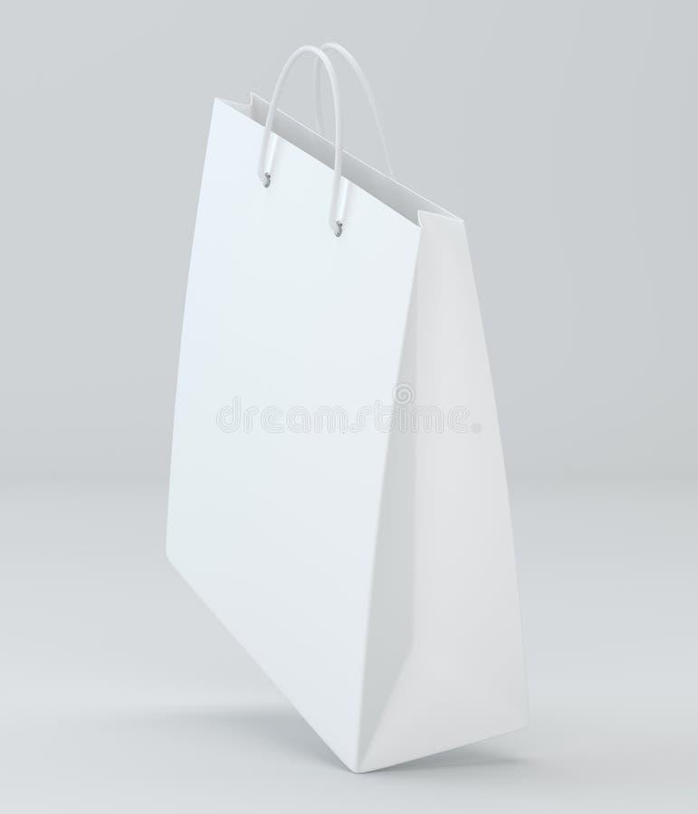 Leere Einkaufstaschen auf Weiß für die Werbung und das Einbrennen Wiedergabe 3d lizenzfreie abbildung