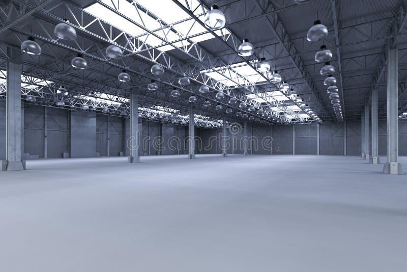 Leere Fabrik mit Lampen stock abbildung