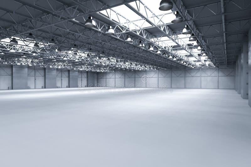 Leere Fabrik mit Lampen lizenzfreie abbildung