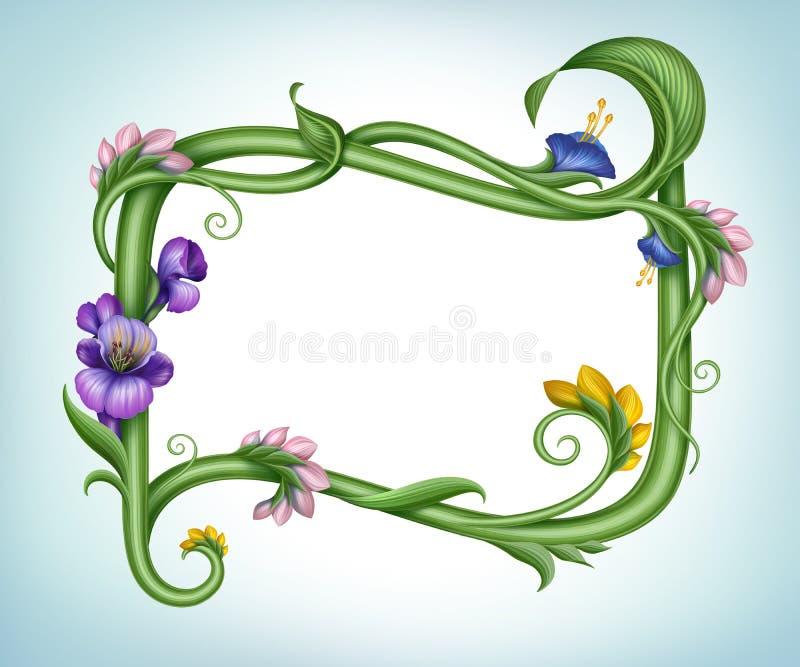 Schöner Frühlingsblumen-Fahnenrahmen vektor abbildung