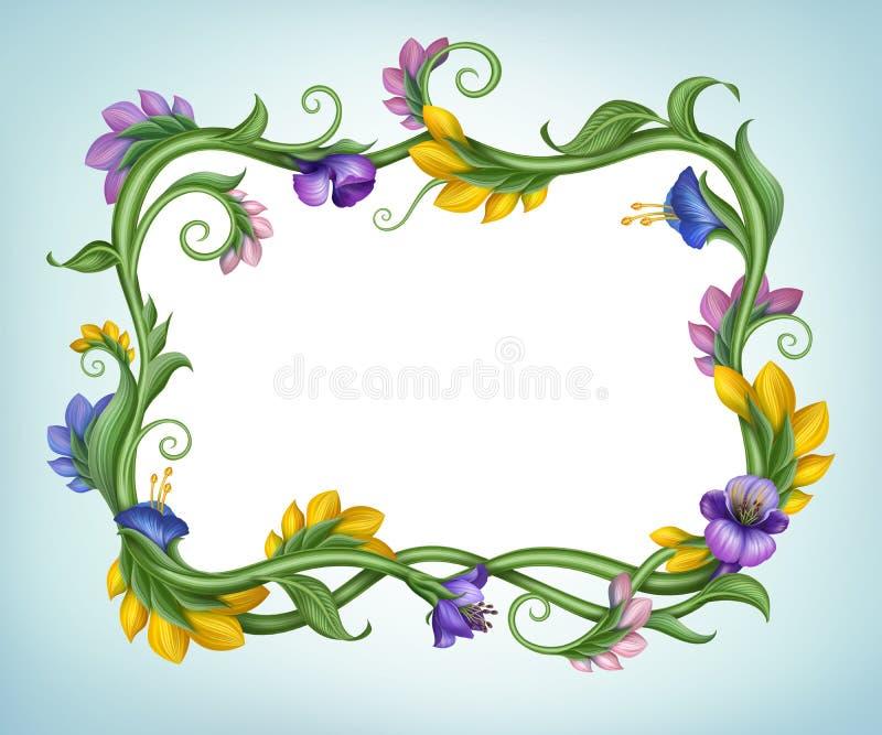 Schöner Frühlingsblumen-Fahnenrahmen stock abbildung