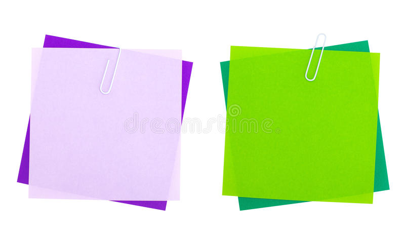 Leere Farbpapieranmerkung lokalisiert auf Weiß lizenzfreie stockbilder