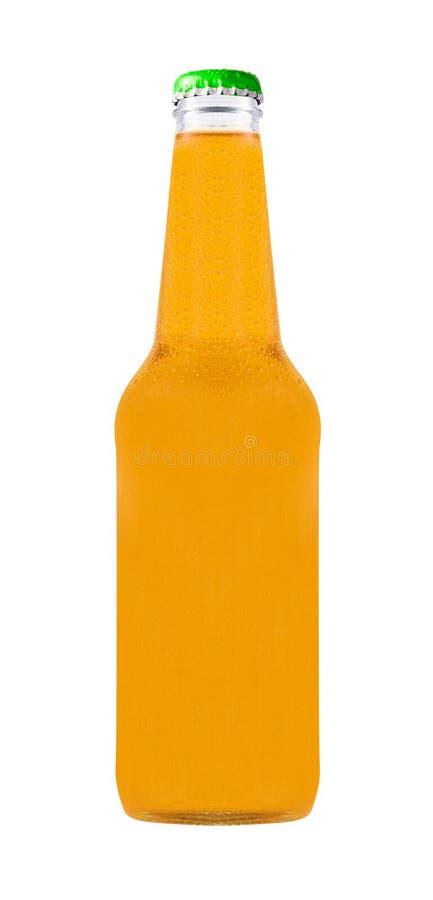 Leere Flasche mit Orangensaftgetränk stockfotos