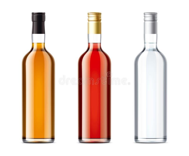Leere Flaschen eingestellt vom Alkoholgetränk lizenzfreie abbildung