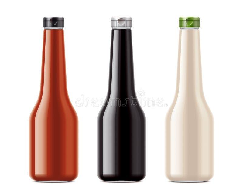 Leere Flaschen für Soßen stock abbildung