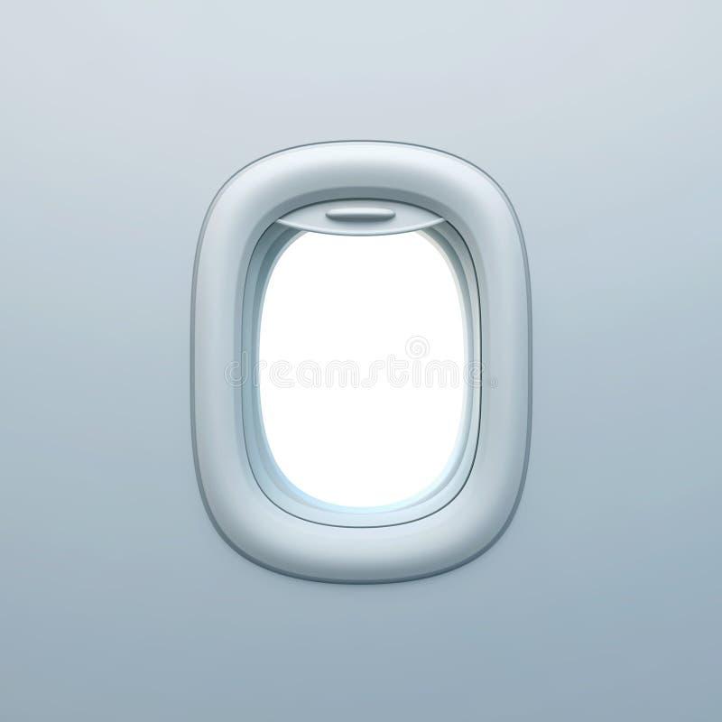 Leere Flugzeugöffnung, Flugzeugfenster stock abbildung