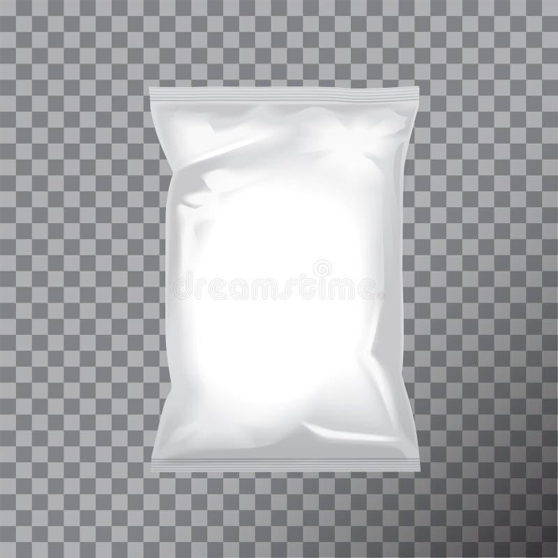Leere Folientaschenverpackung für Lebensmittel, Snack, Kaffee, Kakao, Bonbons, Cracker, Nüsse, Chips Vektorplastiksatzspott oben lizenzfreie abbildung