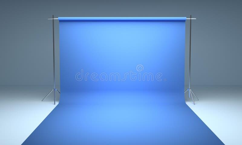 Leere Fotografiestudiohintergrund-Blauschablone stockfotos