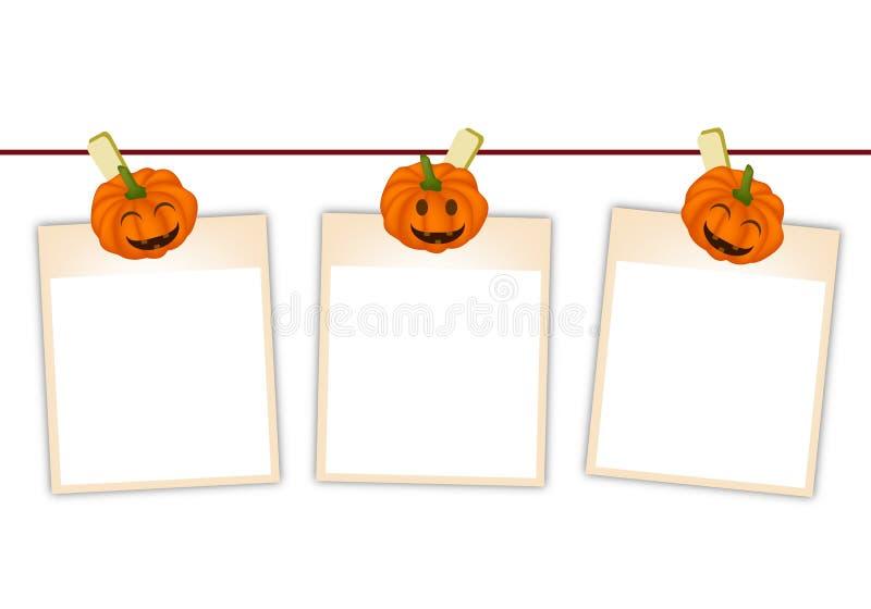 Leere Fotos mit Halloween-Kürbis, der an der Wäscheleine hängt stock abbildung