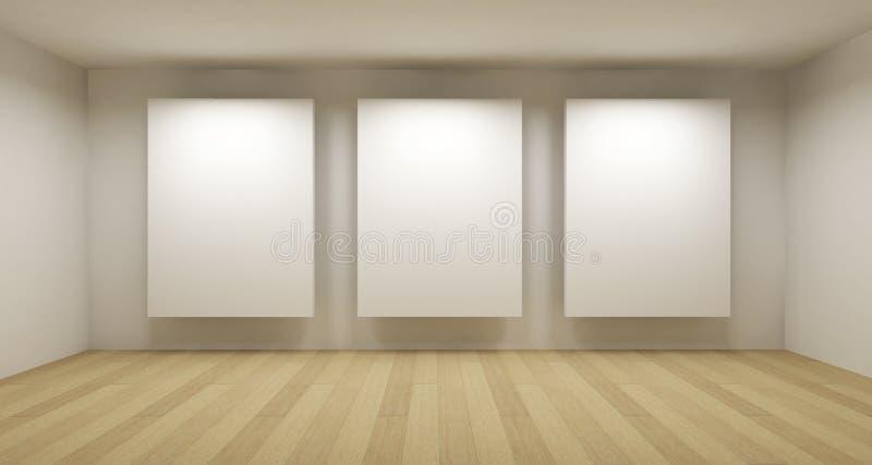 Leere Galerie, Raum 3d stock abbildung