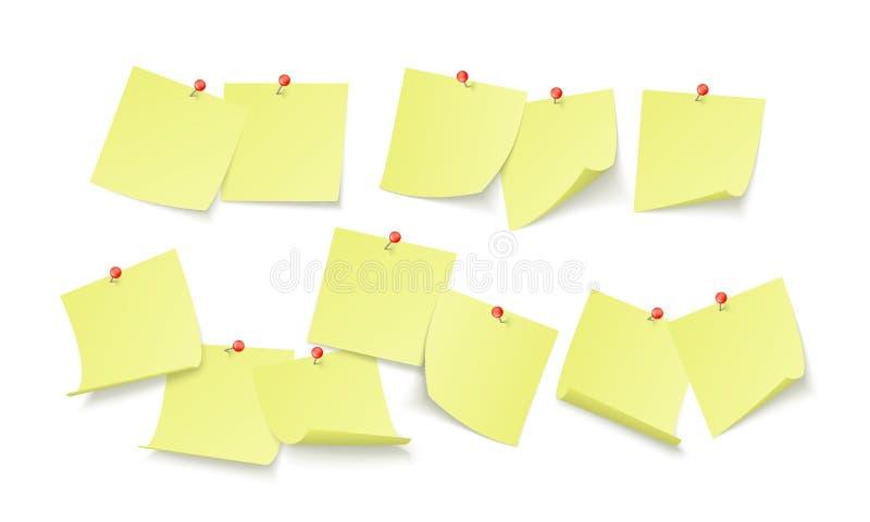 Leere gelbe Aufkleber mit Raum für Text oder der Mitteilung gehaftet durch Clip, um zu ummauern Anzeigenbrett Vektor vektor abbildung