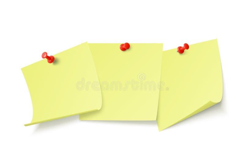 Leere gelbe Aufkleber mit Raum für Text oder der Mitteilung gehaftet durch Clip, um zu ummauern Vektorabbildung getrennt auf wei? stock abbildung