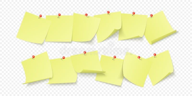 Leere gelbe Aufkleber mit Raum für Text oder der Mitteilung gehaftet durch Clip, um zu ummauern Vektorillustration lokalisiert au lizenzfreie abbildung
