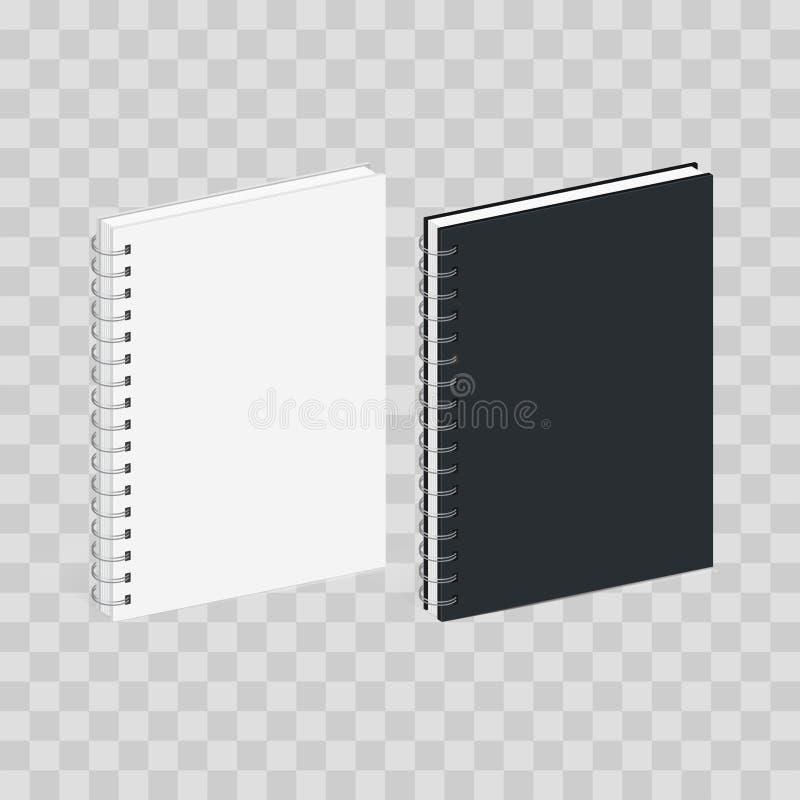 Leere gewundenes Notizbuch-Schablone Schwarzweiss-Abdeckungen Isometrische Ansicht, lokalisiert auf transparentem kariertem Vekto lizenzfreie abbildung