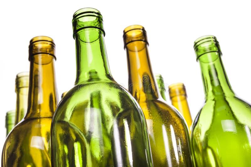 Leere Glaswein-Flaschen lizenzfreie stockbilder