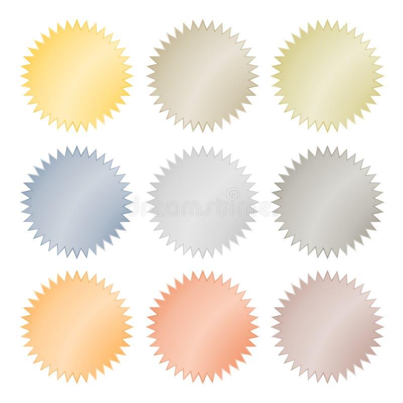 Leere glatte Vektoraufkleber im Gold, rotes Gold, Platin, Silber, Bronze, Kupfer, Aluminium Welches als Münze, Aufkleber, b verwe stock abbildung