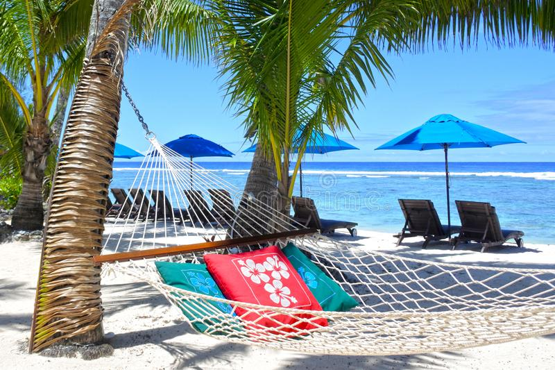 Leere Hängematte zwischen Palmen auf tropischem Strand lizenzfreie stockfotografie
