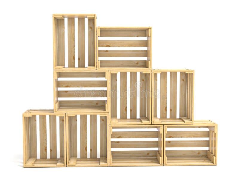Leere hölzerne Kisten vereinbarten 3D stock abbildung