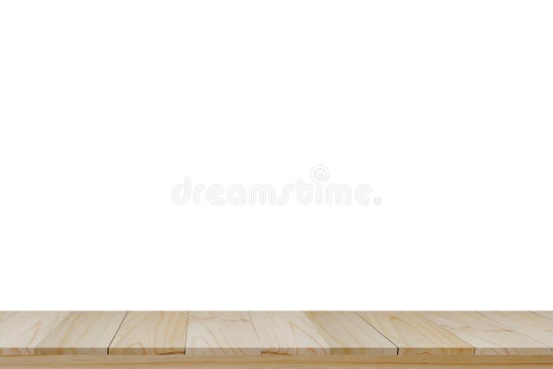 Leere hölzerne Spitzentabelle und weißer Hintergrund stockfotografie