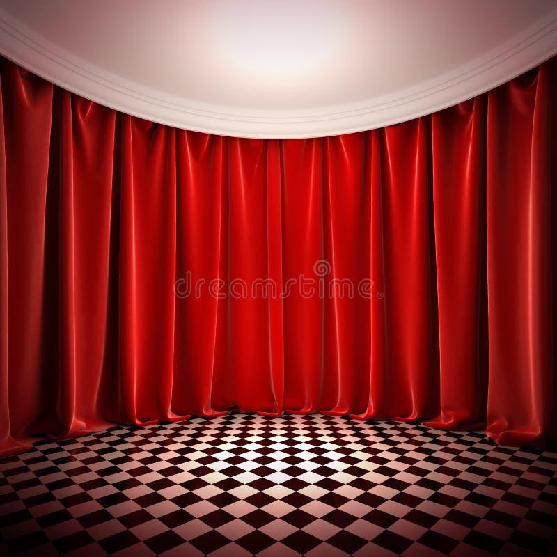 Leere Halle mit roten Trennvorhängen. lizenzfreie abbildung