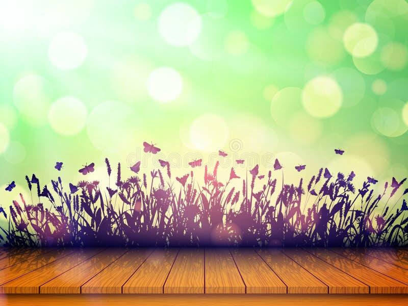 Leere Holztischspitze mit Wildflowers und Schmetterlingen auf unscharfem Hintergrund mit bokeh Auch im corel abgehobenen Betrag vektor abbildung