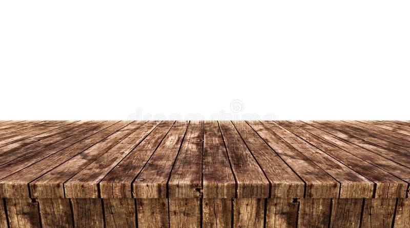 Leere Holztischspitzen lokalisiert auf weißem Hintergrund, stockfotos