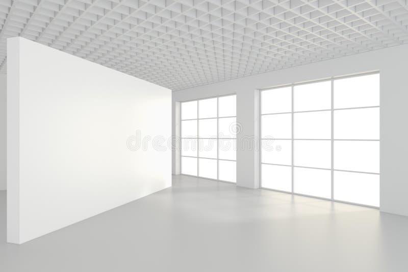 Leere InnenAnschlagtafeln, die auf Boden im Reinraum stehen Wiedergabe 3d stockbilder