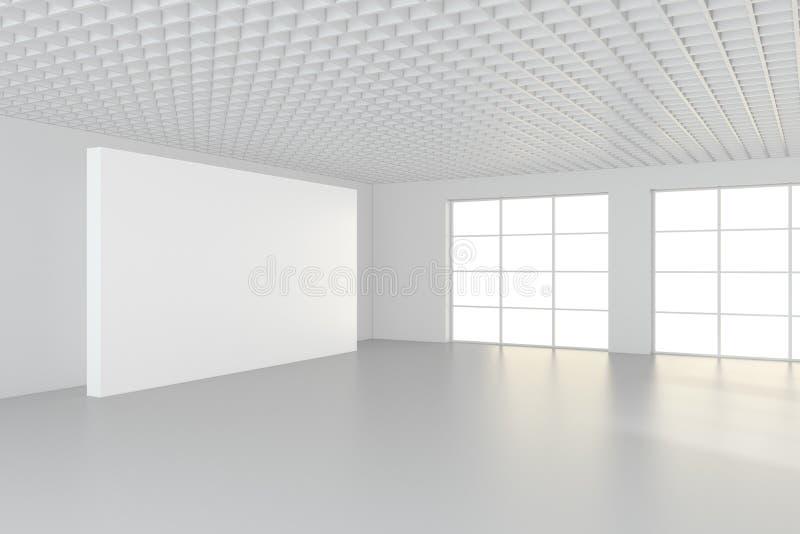 Leere InnenAnschlagtafeln, die auf Boden im Reinraum stehen Wiedergabe 3d stockfotografie