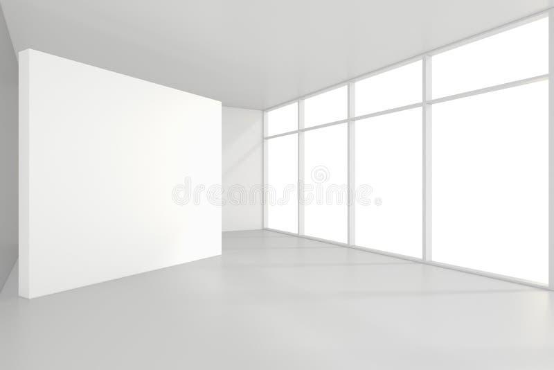 Leere InnenAnschlagtafeln, die auf Boden im Reinraum stehen Wiedergabe 3d stockbild