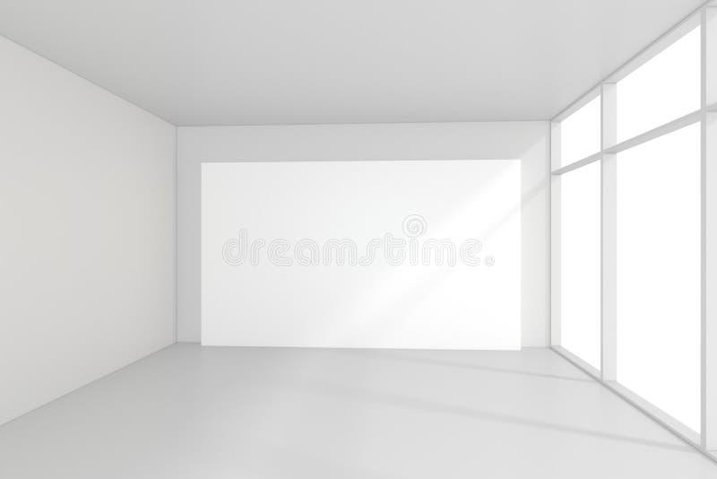 Leere InnenAnschlagtafeln, die auf Boden im Reinraum stehen Wiedergabe 3d lizenzfreie stockbilder
