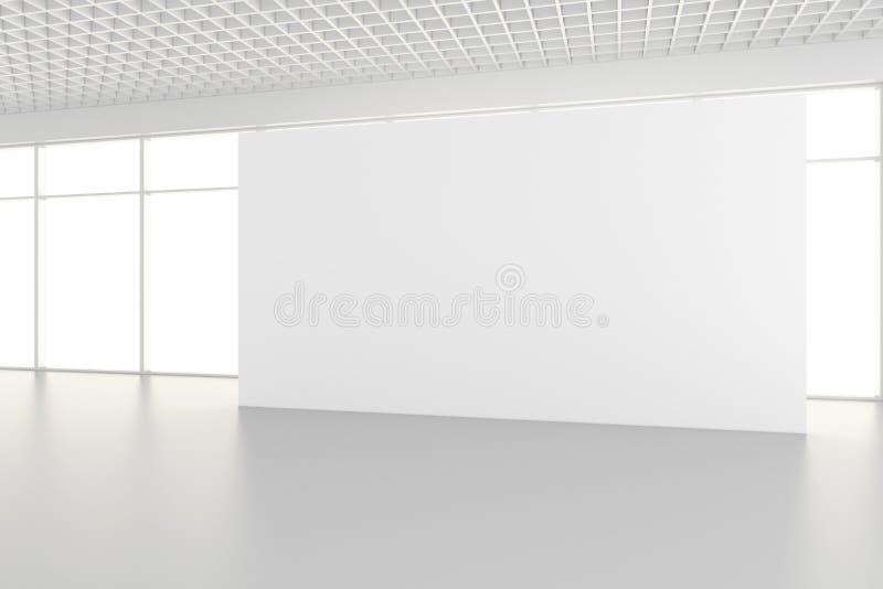 Leere InnenAnschlagtafeln, die auf Boden im Reinraum stehen Wiedergabe 3d lizenzfreie stockfotografie