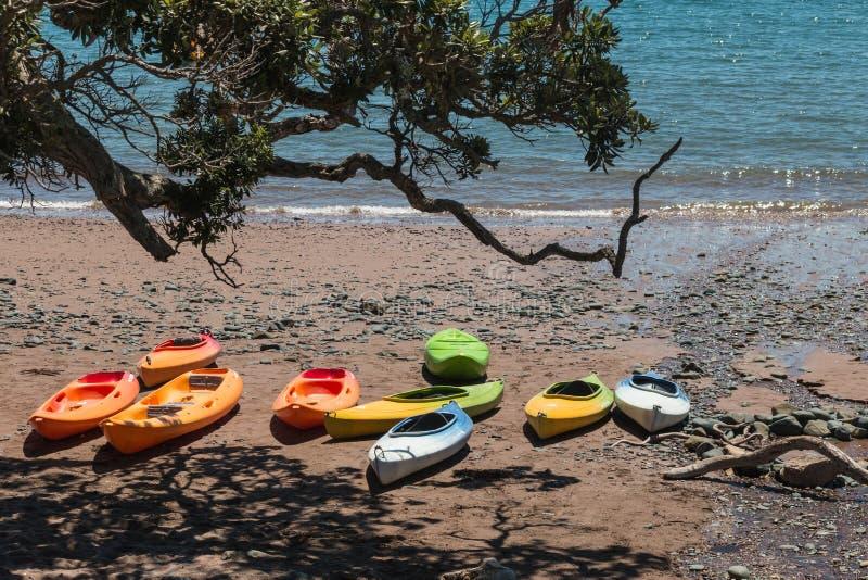 Leere Kajaks auf Strand stockbilder