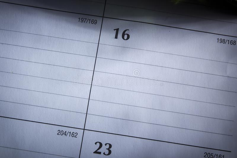 Leere Kalenderseite stockfoto