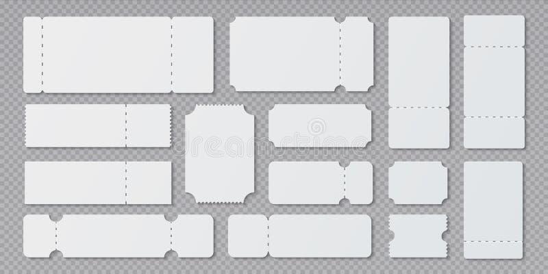 Leere Kartenschablonen Lotteriekuponmodell, leeres Konzert und Filmkartenpläne Vektorrüschenrand unterschiedlich lizenzfreie abbildung