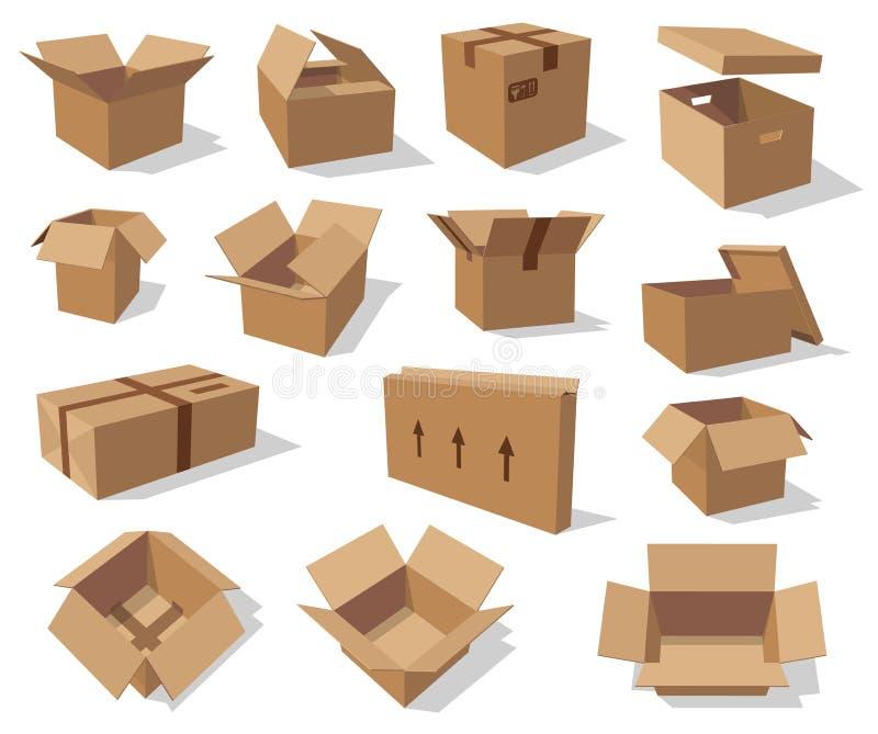 Leere Kartonkästen, Vektorpappverpacken stock abbildung